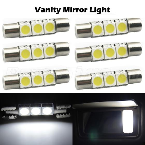 6 xenon white 3 5050 smd led bulbs for car vanity mirror lights sun visor lam. Black Bedroom Furniture Sets. Home Design Ideas