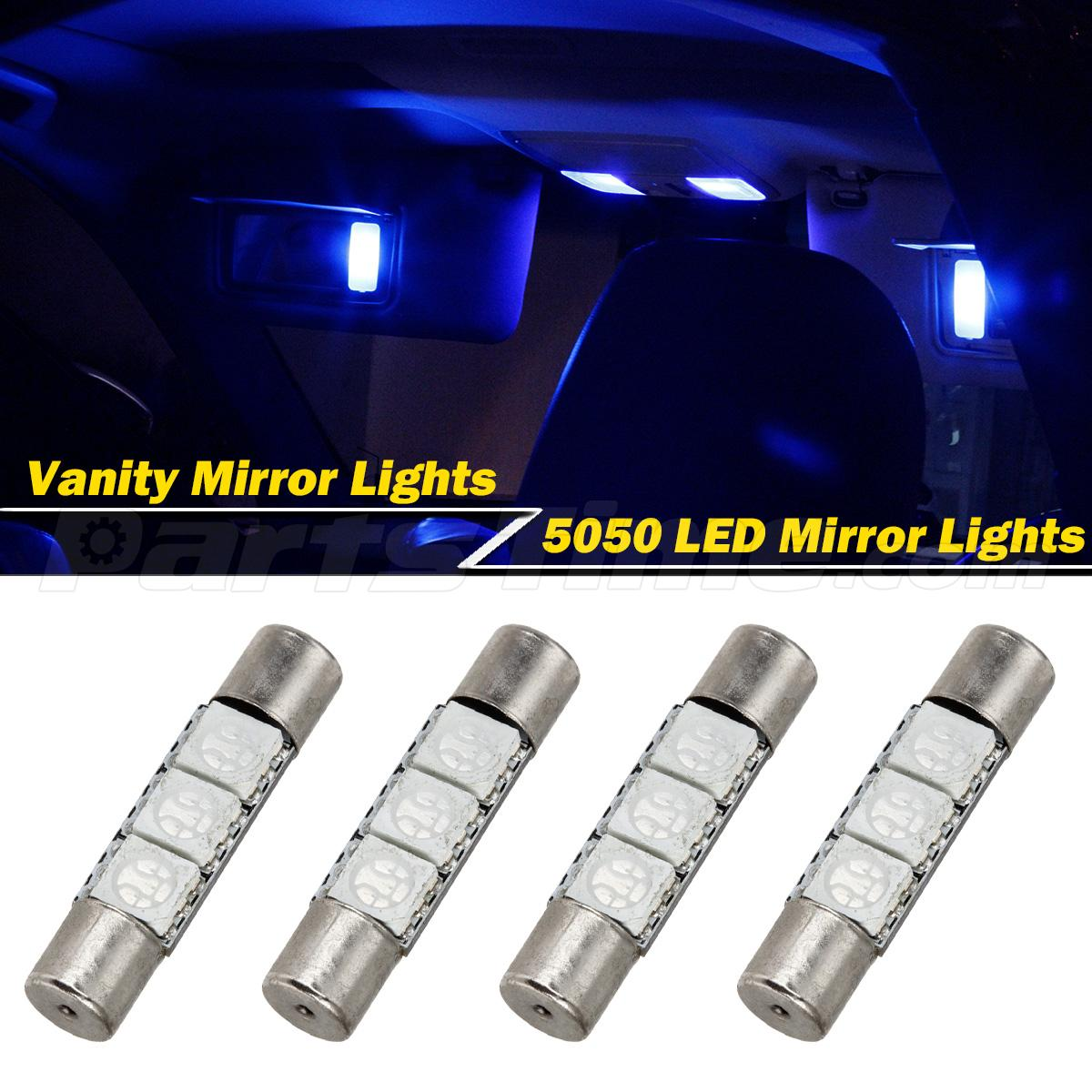 Vanity Mirror Lights In Car : 4 Xenon Blue 3 SMD 6641 LED Bulbs for Car Sun Visor Vanity Mirror Lights eBay