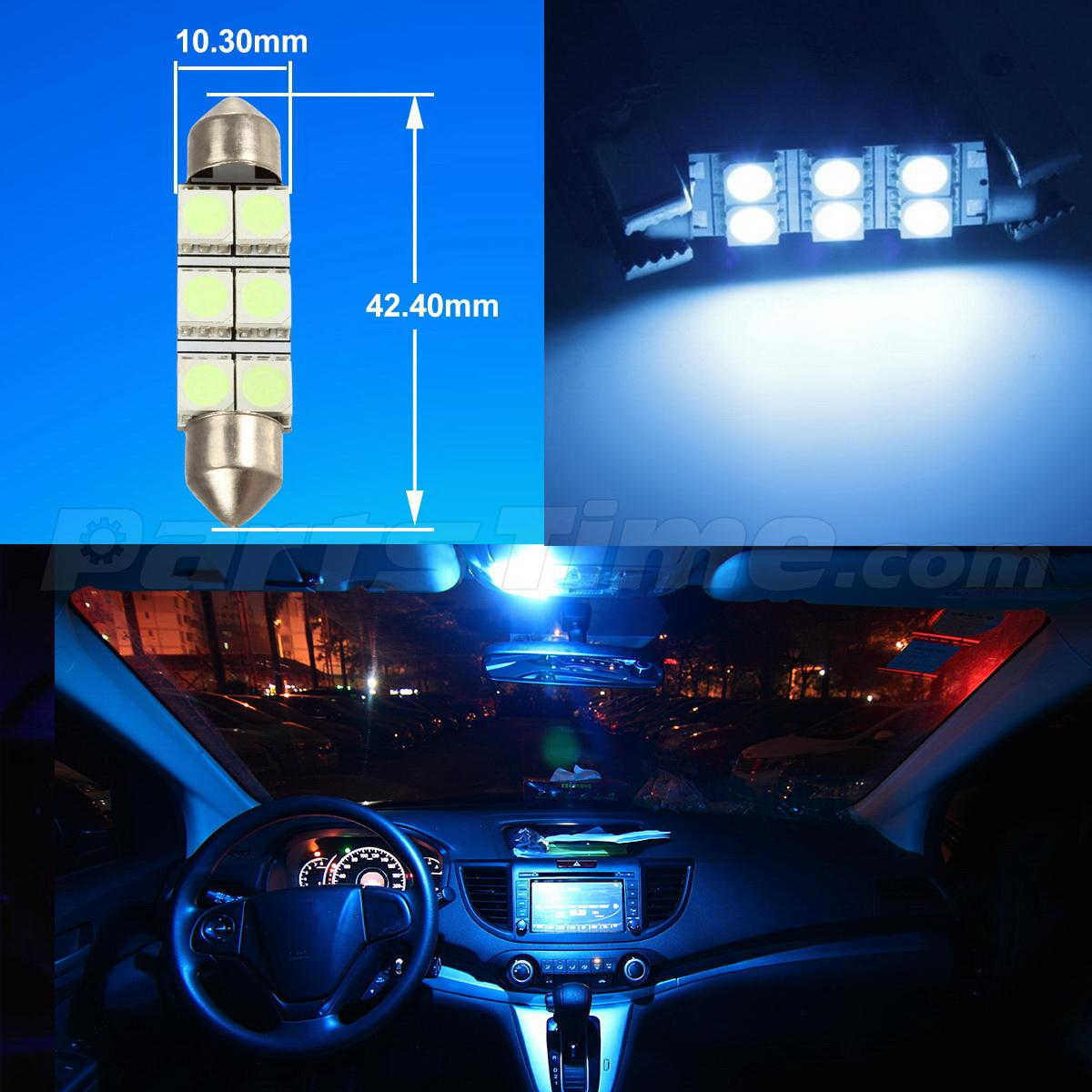 Ice Blue Led Interior Light Bulb Package Combo For Map