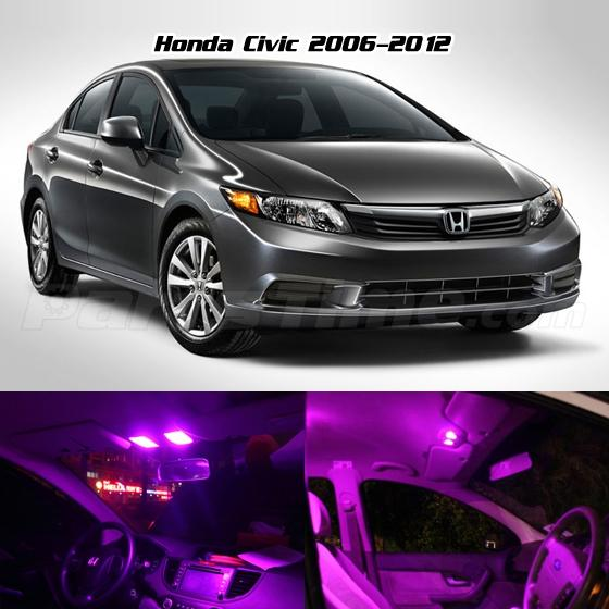 Civic Sedan Interior: For 2006-2012 Honda Civic Coupe/Sedan Pink Led Interior