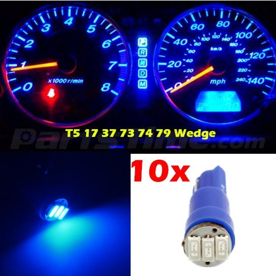 Toyota Led Tail Lights 10x Blue T5 SMD LED Bulbs Dash Instrument Panel Cluster Light 37 70 73 ...