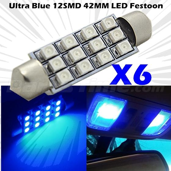 6x blue 42mm 5050 led 12 smd festoon interior dome light lamp car bulbs 578 570 ebay. Black Bedroom Furniture Sets. Home Design Ideas