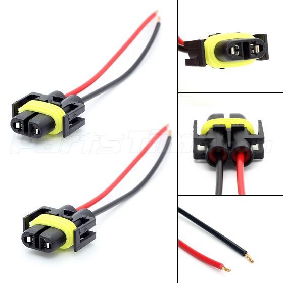 1 pair 881 h11 880 plug wiring harness sockets for. Black Bedroom Furniture Sets. Home Design Ideas
