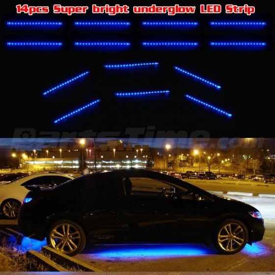 18pc Blue 3 Mode 3528 Led Underglow Underbody Truck Car Neon Light Strip Bar Kit