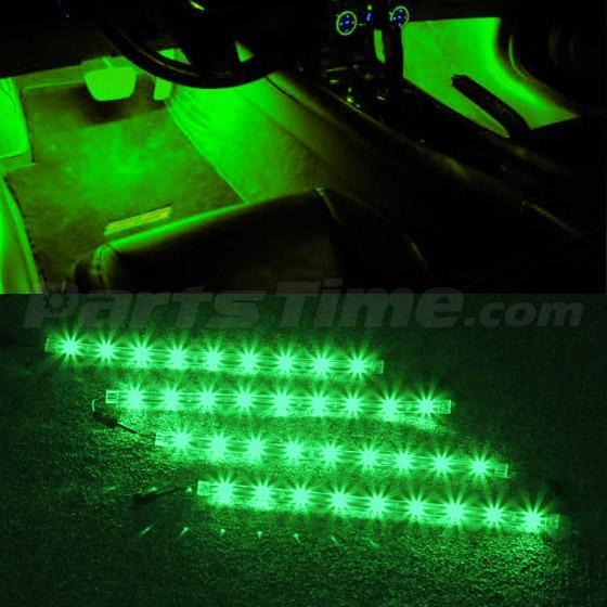 Green 9 3528 Smd Led Strip Lights Interior Glow Neon Lighting Car Truck Suv Ebay