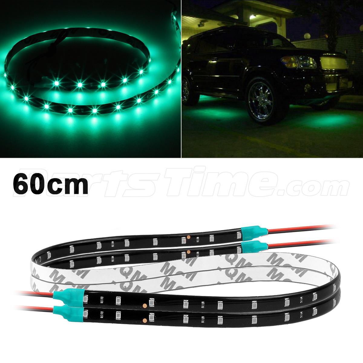 Green Led Strip Light: Pair 60CM 2Ft 30SMD LED Waterproof Flexible Strip Light