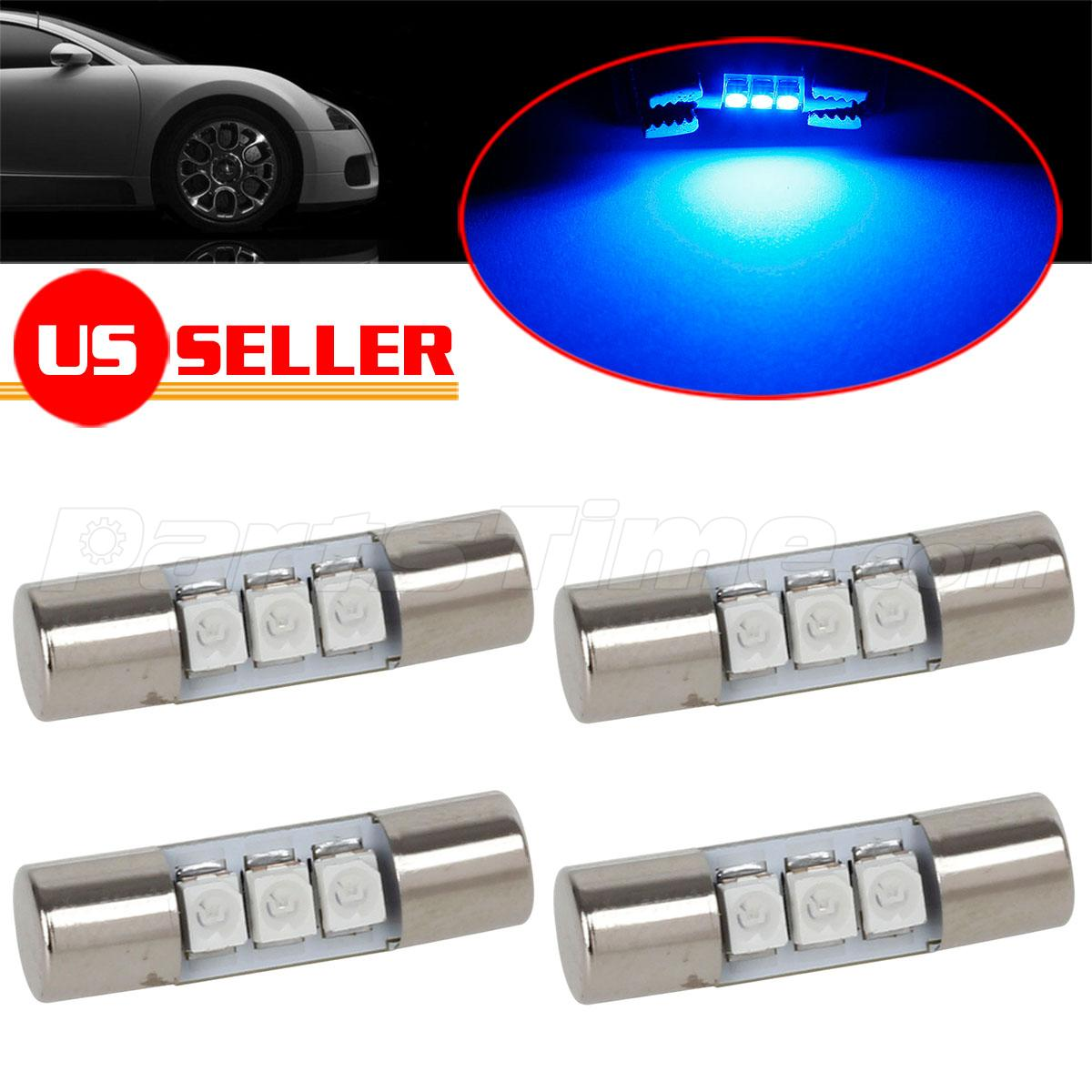 4pcs blue 23mm festoon car vanity mirror lights sun visor lamp 12v 3 smd ebay. Black Bedroom Furniture Sets. Home Design Ideas