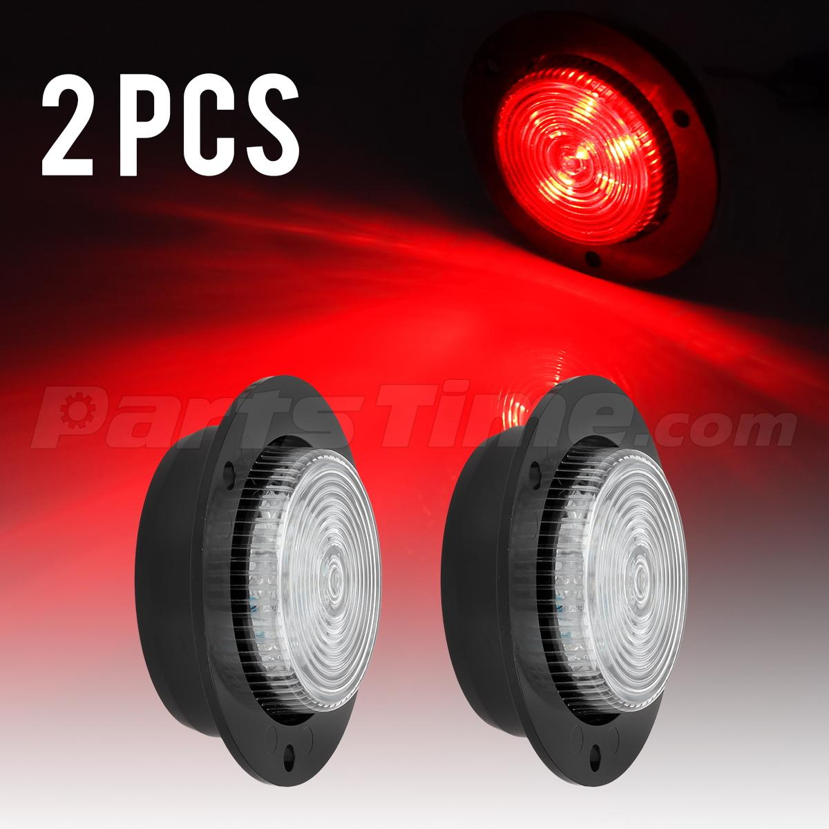 2xred 2 U0026quot  Round Surface Mount 6 Led Side Marker Clearance